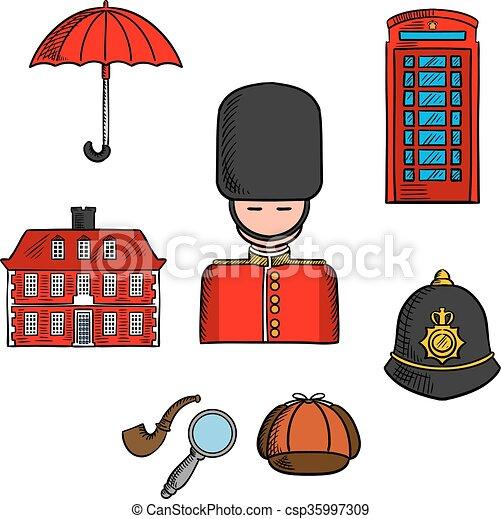 Croquis Repères Londres Coloré Voyage
