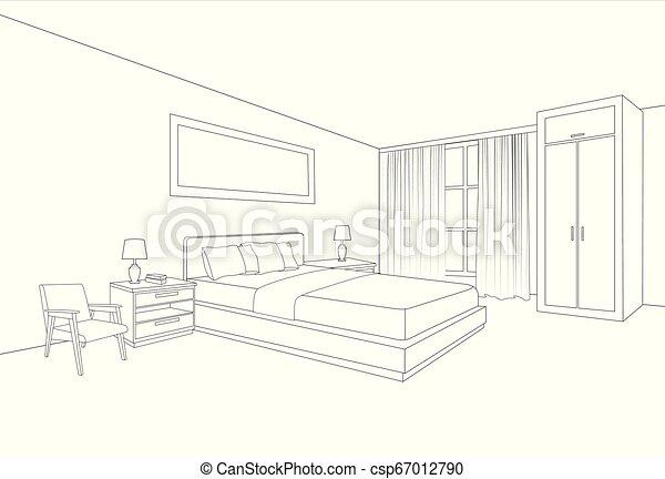 croquis, salle, espace, drawing., intérieur, interior., perspective,  chambre à coucher, intérieur, maison, ligne, meubles, design.