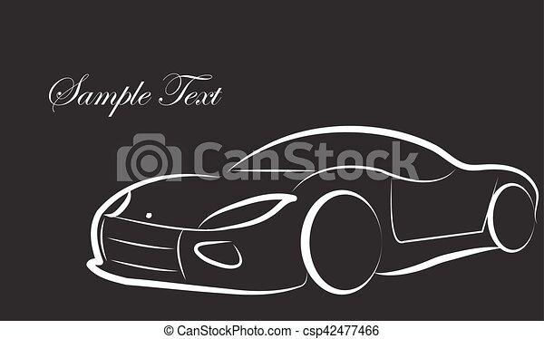 Croquis silhouette voiture vecteur fond logo carte - Croquis voiture ...