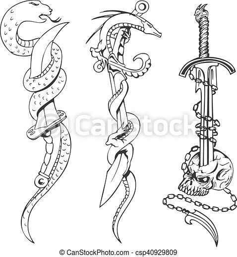 Croquis De Tatouage croquis, tatouage, serpents, poignards, crâne. croquis, tatouage