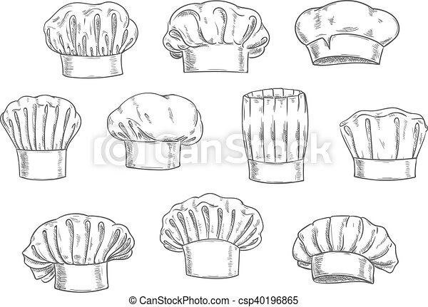 clipart vecteur de croquis toque casquette chapeau chef cuisinier csp40196865. Black Bedroom Furniture Sets. Home Design Ideas