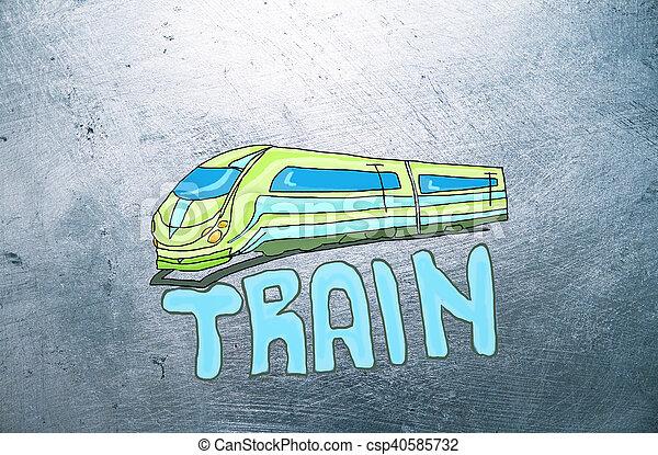 croquis, train - csp40585732