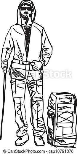 croquis, vecteur, backpacker., illustration - csp10791878