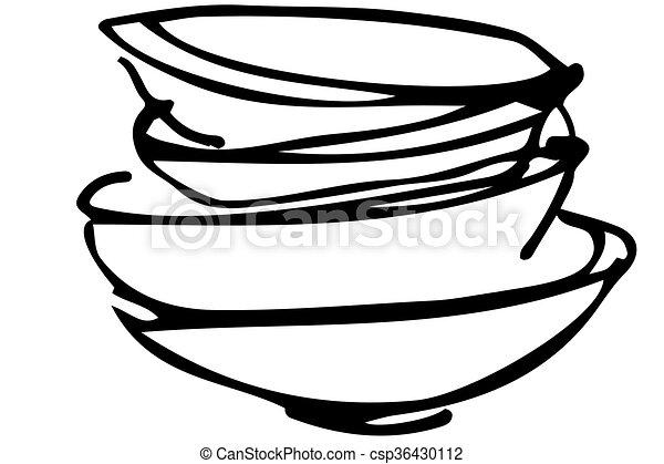 croquis, vecteur, tas, plats sales - csp36430112