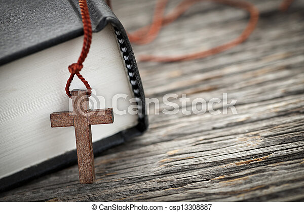 Cross and Bible - csp13308887