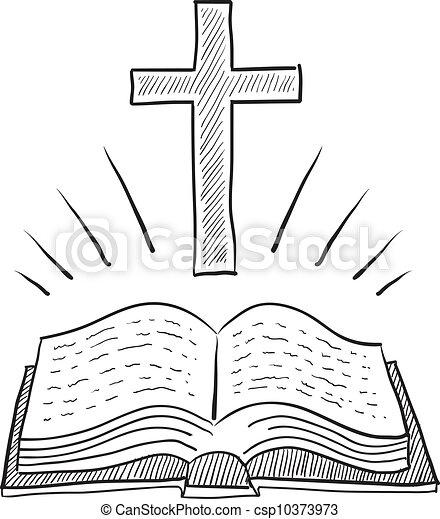 Cross and bible sketch - csp10373973