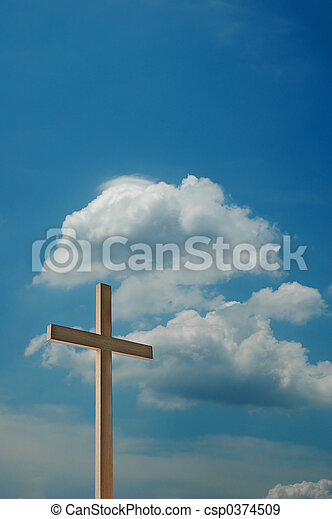 Cross and blue sky with clouds - csp0374509