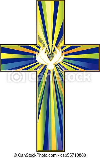 Cross And Dove Symbol Of Christs Resurrection A Vector Vector