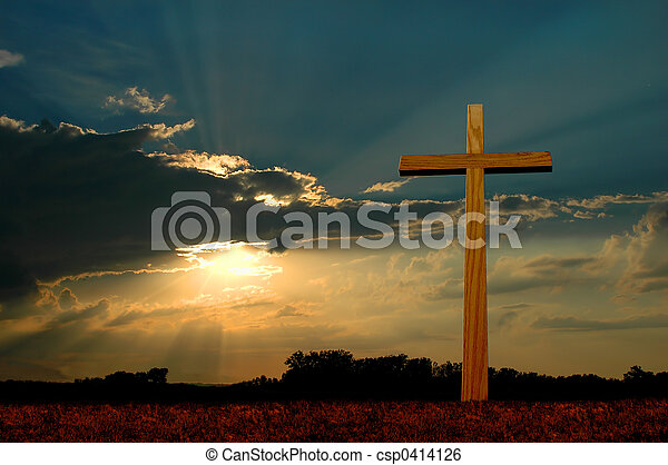 Cross at Sunset - csp0414126