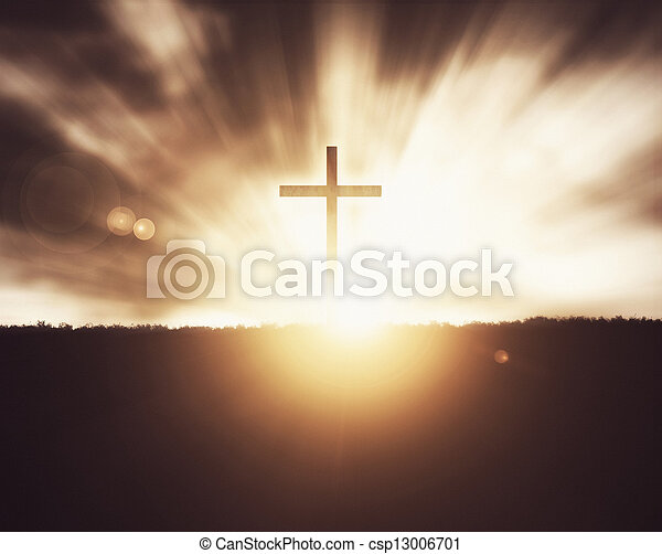 Cross at sunset. - csp13006701