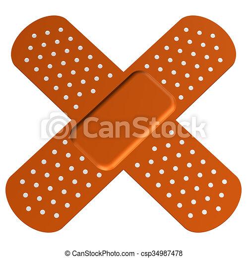 Cross bandaid - csp34987478