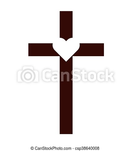 Cross Catholic Heart Icon Graphic Isolated Vector