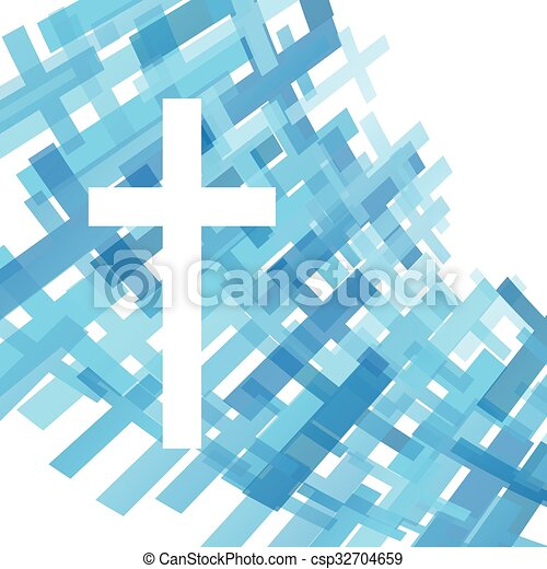 Cross clear blue abstract Christianity religion background vector illustration - csp32704659