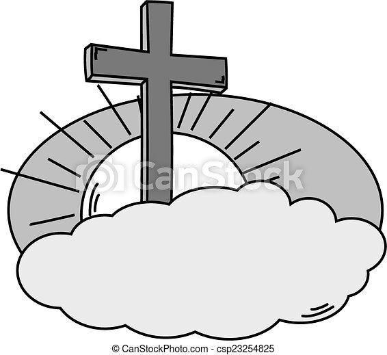 cross cloud sky and sun in black and white vector rh canstockphoto com