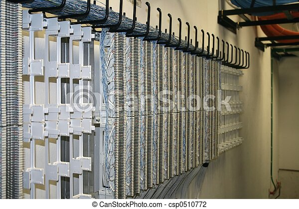 Cross Connect Field 66 Blocks Mounted On Wall In Telecom
