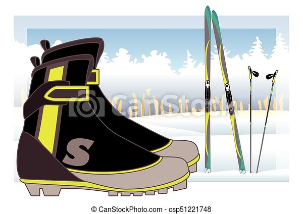 cross-country boots, skis and ski poles with trees and snow-covered hills in background - csp51221748