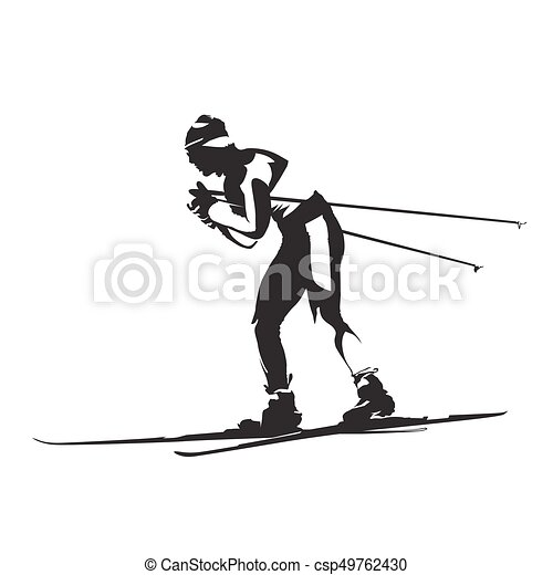 Cross Country Classic Style Nordic Skiing Vector Silhouette Side View