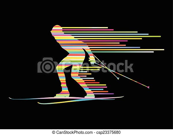Cross country skiing vector background concept - csp23375680