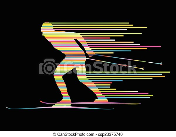 Cross country skiing vector background concept - csp23375740