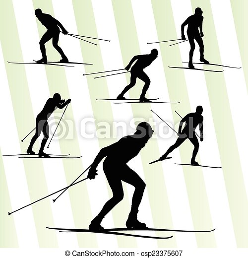 Cross country skiing vector background with sun - csp23375607