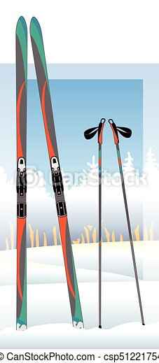 cross-country skis and ski poles with snow-covered trees in background - csp51221754