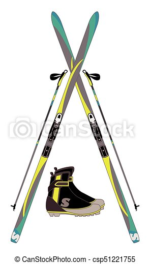 cross-country skis, ski poles and boots - csp51221755