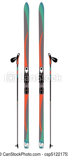 cross-country skis with ski poles isolated - csp51221753