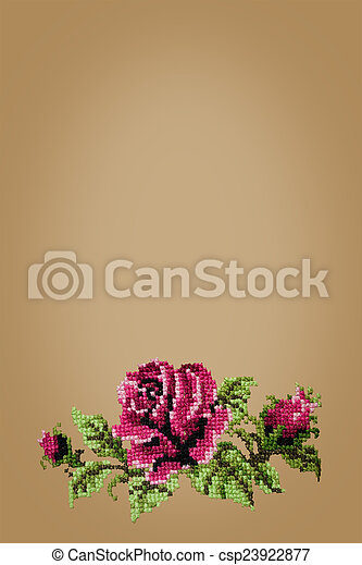 cross embroidered rose on beige  background - csp23922877