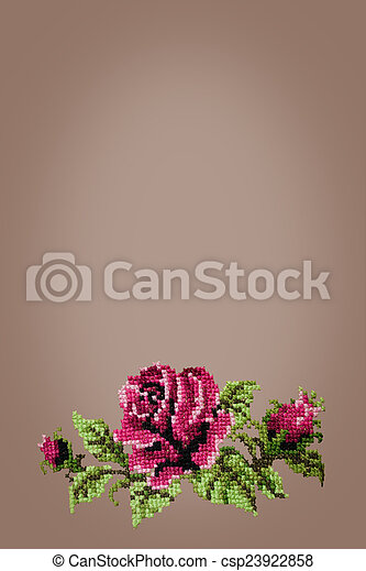 cross embroidered rose on beige  background - csp23922858