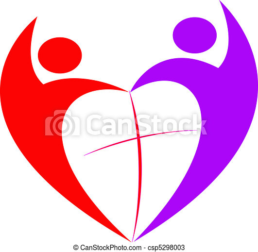 silhouette of people cross in the middle of the heart rh canstockphoto com free heart and cross clip art Heart with Cross Inside