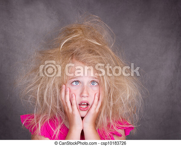 cross eyed girl with crazy hair - csp10183726