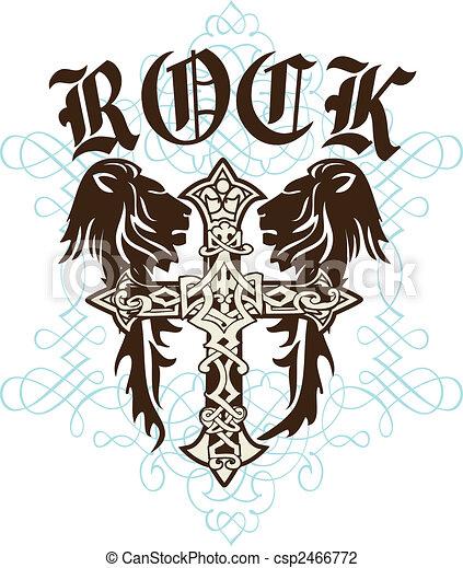 Cross Heraldic Crest Lion - csp2466772