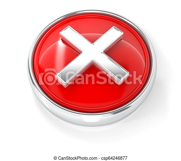 Cross icon on glossy red round button - csp64246877