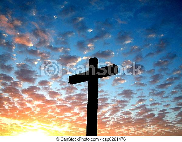 Cross in a cloudy sk - csp0261476