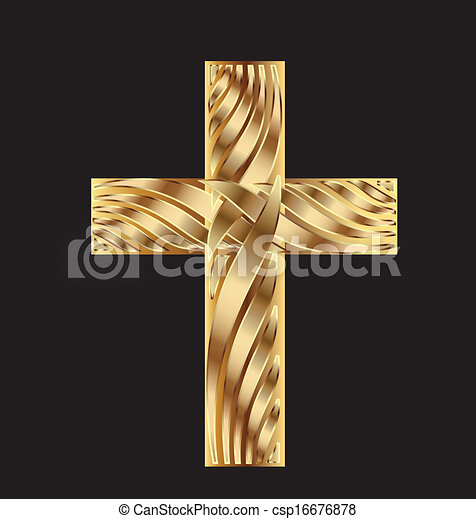 Cross in gold beautiful design - csp16676878
