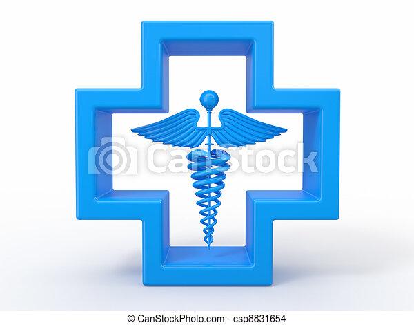 cross., medico, caduseus, simbolo., sanità - csp8831654