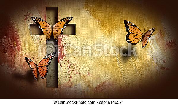 Cross of Jesus setting butterflies free - csp46146571