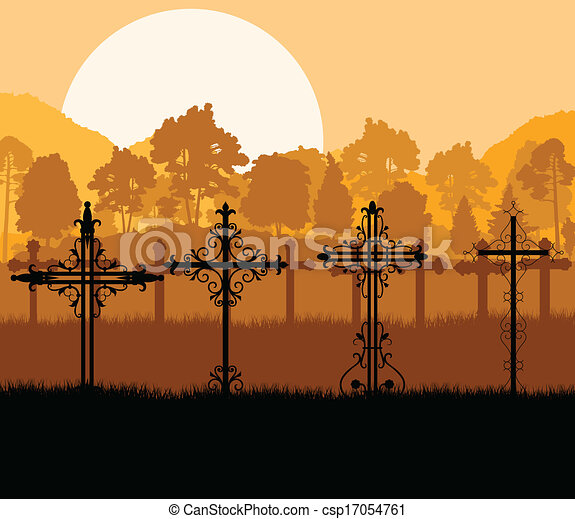 Cross on a hill at sunset vector background concept landscape - csp17054761