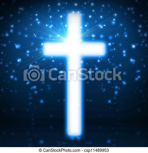Cross on blue background - csp11489953
