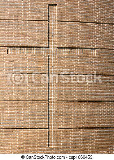 Cross on Brick Wall - csp1060453