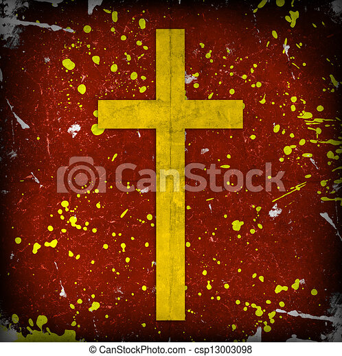 cross on red grunge background - csp13003098