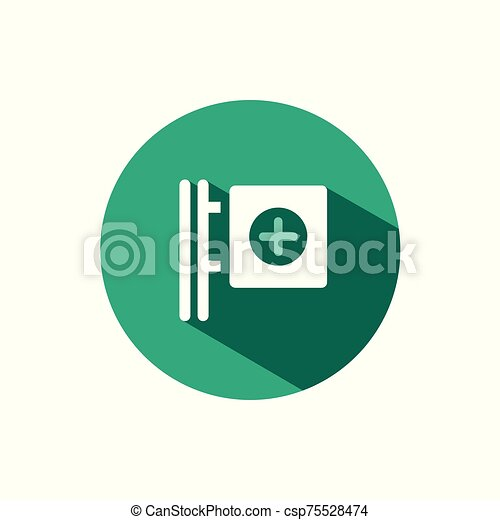 Cross pharmacy sign icon with shadow on a green circle. Vector pharmacy illustration - csp75528474