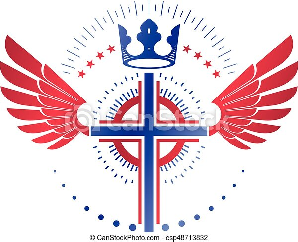 Cross Religious Graphic Emblem Created Using Imperial Crown