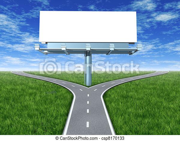 Cross roads with billboard  - csp8170133