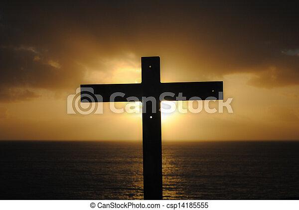 Cross, sea, sunset - csp14185555