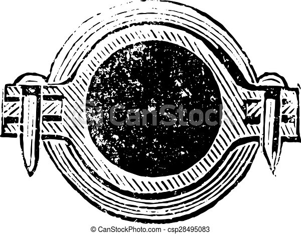 Cross section of the connection, vintage engraving. - csp28495083