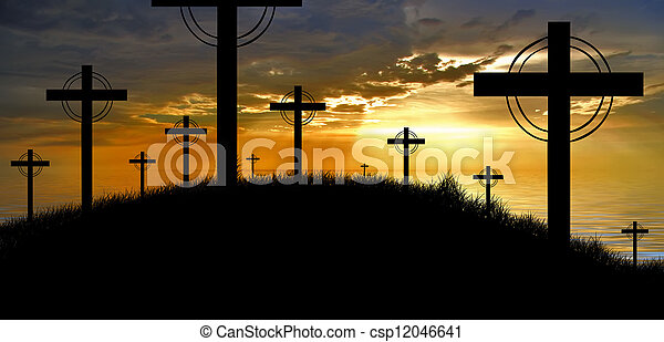 cross silhouette and the clouds at sunset - csp12046641