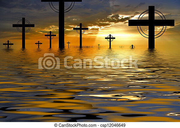 cross silhouette and the clouds at sunset - csp12046649