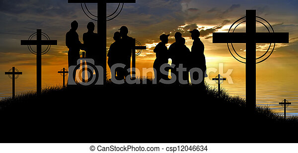 cross silhouette and the clouds at sunset - csp12046634