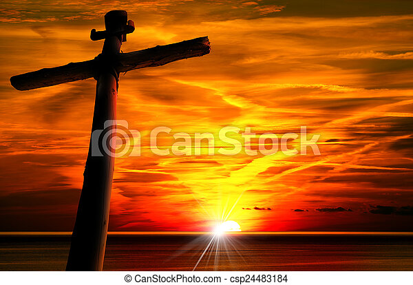 Cross Silhouette at the Sunset - csp24483184